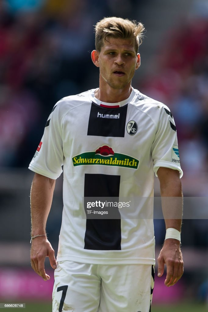 Florian Niederlechner of Freiburg looks on during the Bundesliga match between Bayern Muenchen and SC Freiburg at Allianz Arena on May 20, 2017 in Munich, Germany.