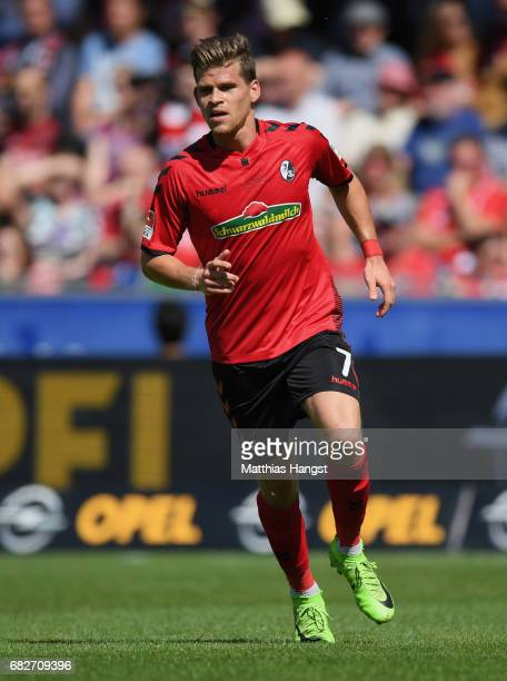 Florian Niederlechner of Freiburg runs for the ball during the Bundesliga match between SC Freiburg and FC Ingolstadt 04 at SchwarzwaldStadion on May...