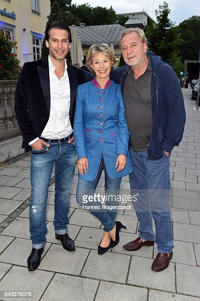 Florian Odendahl Ilona Gruebel and Gerd Silberbauer attend the UFA Fiction Reception during the Munich Film Festival 2016 at Cafe Reitschule on June...