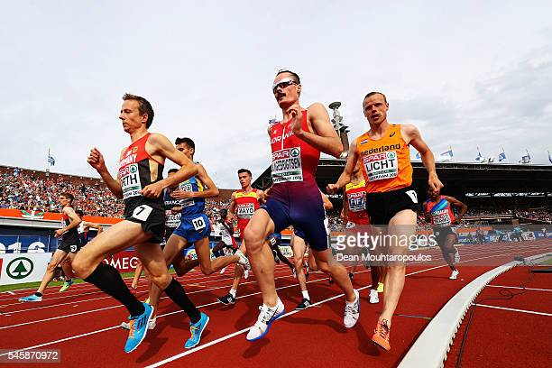 Florian Orth of Germany leads the field during the final of the mens 5000m on day five of The 23rd European Athletics Championships at Olympic...