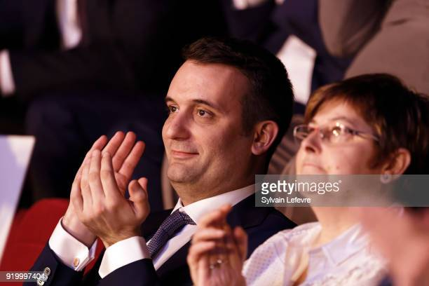 Florian Philippot leader of farright movement 'Les Patriotes' applauds during their first congress on February 18 2018 in Arras France Marine le...