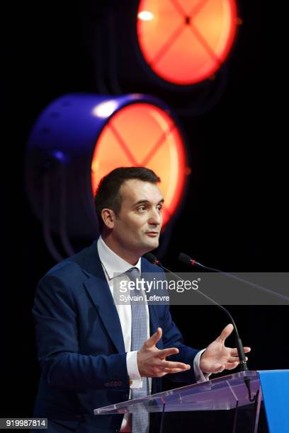 Florian Philippot leader of farright movement 'Les Patriotes' delivers a speech during their first congress on February 18 2018 in Arras France...