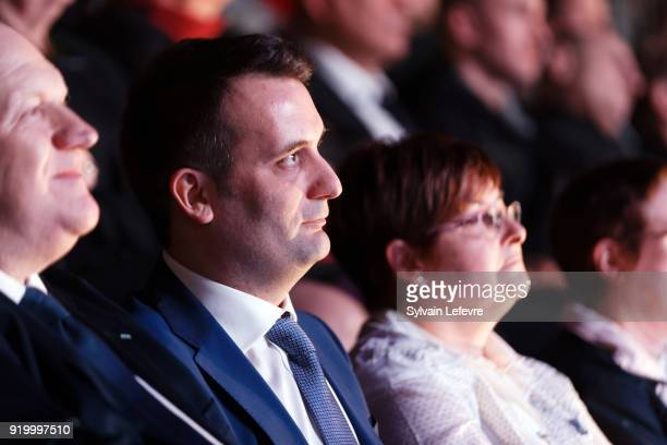Florian Philippot leader of farright movement 'Les Patriotes' sits in the audience during their first congress on February 18 2018 in Arras France...