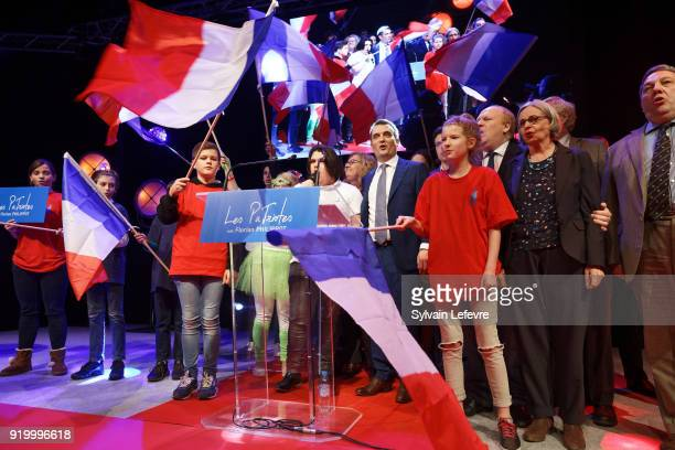 Florian Philippot leader of farright movement 'Les Patriotes' stands on stage during the first congress of 'Les Patriotes' on February 18 2018 in...