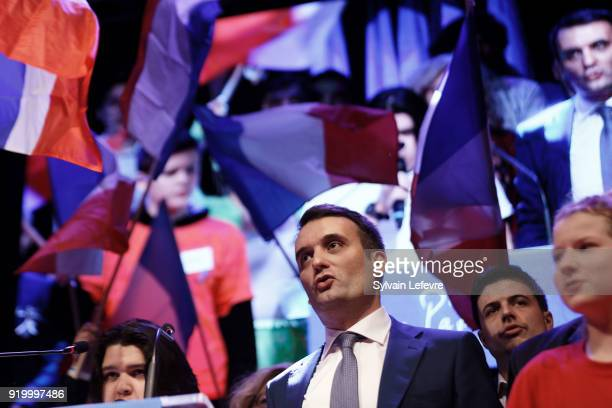 Florian Philippot leader of farright movement 'Les Patriotes'on stage during their first congress on February 18 2018 in Arras France Marine le Pen's...
