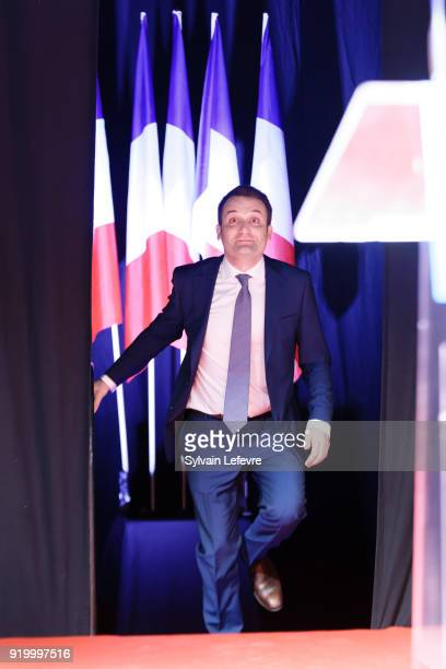 Florian Philippot leader of farright movement 'Les Patriotes'walks onto stage during their first congress on February 18 2018 in Arras France Marine...