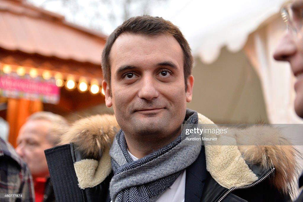 Marine Le Pen visits Christmas Market on the Champs Elysees