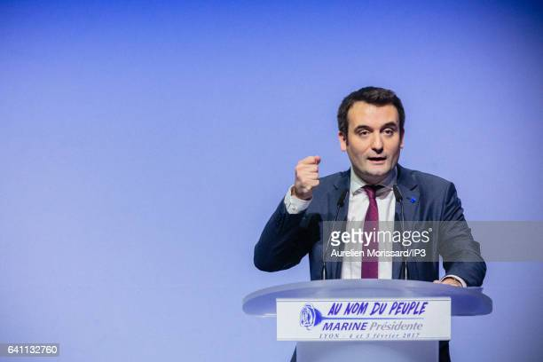 Florian Philippot Vice President of the French far right National Front political party delivers a speech during the 'Assises de la présidentielle'...