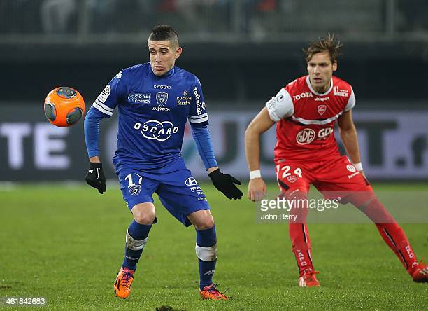 Florian Raspentino of Bastia and Gary Kagelmacher of Valenciennes in action during the french Ligue 1 match between Valenciennes FC and SC Bastia at...
