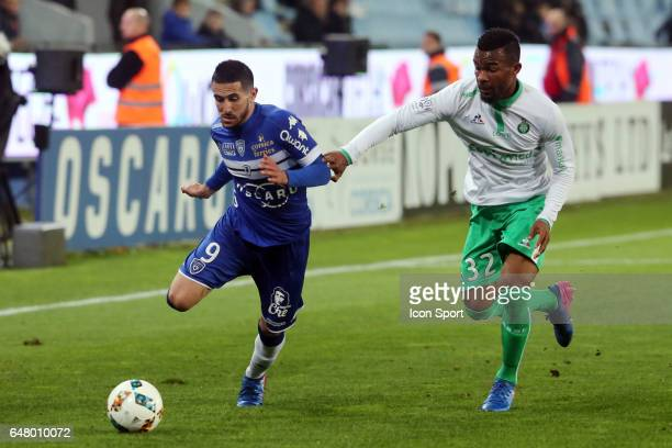 Florian RASPENTINO of Bastia and Habib MAIGA of Saint Etienne during the French Ligue 1 match between Bastia and Saint Etienne at Stade Armand Cesari...