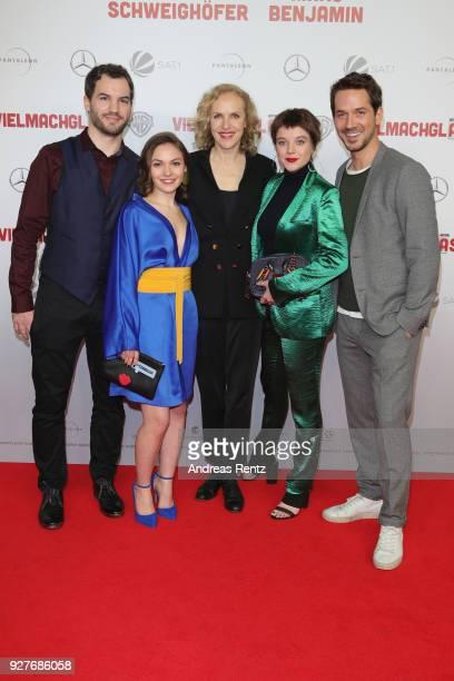 Florian Ross, Emma Drogunova, Juliane Koehler, Jella Haase and Marc Benjamin attend the premiere of 'Vielmachglas' at Cinedom on March 5, 2018 in...
