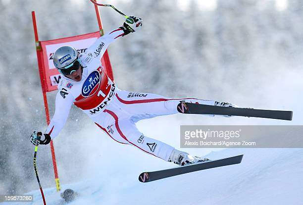 Florian Scheiber of Austria competes during the Audi FIS Alpine Ski World Cup Men's Downhill training on January 16 2013 in Wengen Switzerland