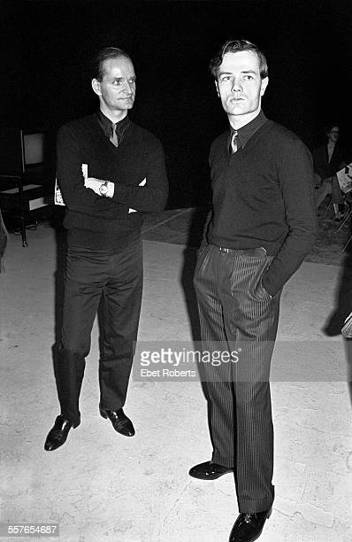 Florian Schneider and Ralf Hutter of Kraftwerk at a Kraftwerk promotional party for the Â'Man MachineÂ' record held in New York City on April 6, 1978.