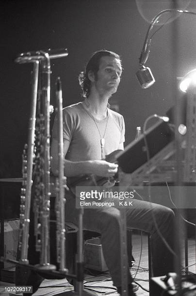 Florian Schneider from Kraftwerk performs live on stage in Germany in 1971