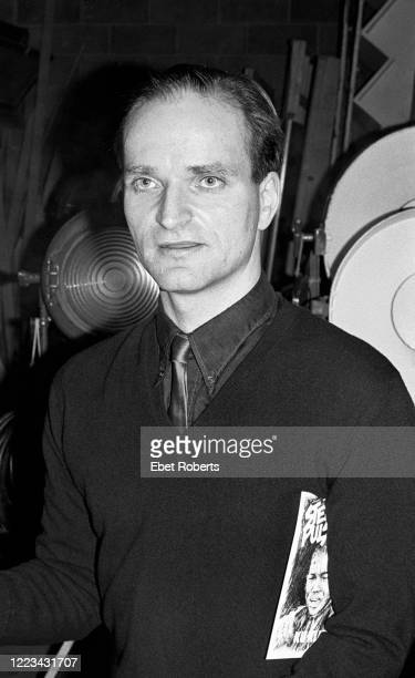 Florian Schneider of Kraftwerk at a Capitol Records Kraftwerk promotional party for the 'Man Machine' record at Studio A of American Allied Pictures...