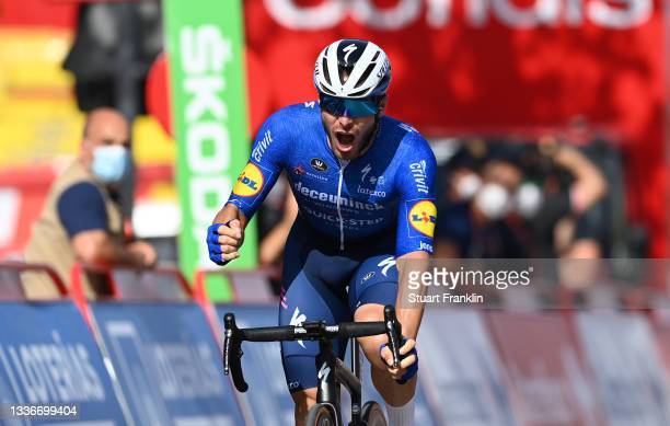 Florian Senechal of France and Team Deceuninck - Quick-Step celebrates winning during the 76th Tour of Spain 2021, Stage 13 a 203,7km stage from...