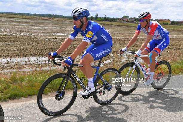 Florian Senechal of France and Team Deceuninck - Quick-Step / Tobias Ludvigsson of Sweden and Team Groupama - FDJ / during the 102nd Giro d'Italia...