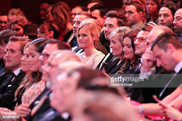 Florian Silbereisen and his girlfriend Helene Fischer sit in the audience during the Bambi Awards 2016 show at Stage Theater on November 17 2016 in...