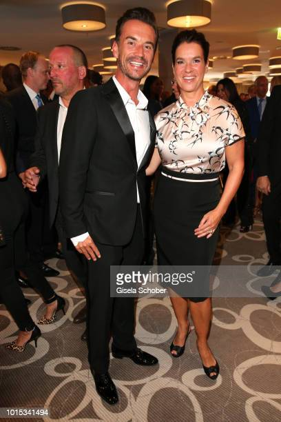 Florian Silbereisen and Katarina Kati Witt during the 11th GRK Golf Charity Masters reception on August 11 2018 at The Westin Hotel in Leipzig Germany