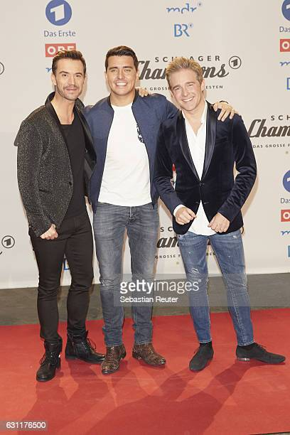 Florian Silbereisen Jan Smit and Christoff de Bolle of Klubbb3 attend the 'Das grosse Fest der Besten' tv show at Velodrom on January 7 2017 in...