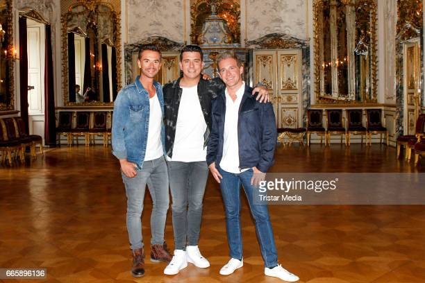 Florian Silbereisen Jan Smit and Christoff De Bolle of the band Klubbb3 pose during a photocall to present their new single 'Maerchenprinzen' on...