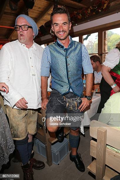 Florian Silbereisen wearing a leather trousers by Daniel Fendler during the opening of the oktoberfest 2016 at the 'Kaeferschaenke' beer tent at...