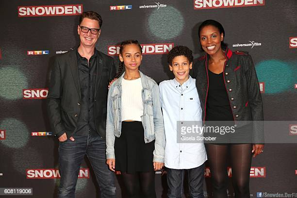 Florian Simbeck and his wife Stephanie and daughter Emma and son Steward during the Europe premiere of the film 'Snowden' at Mathaeser Filmpalast on...