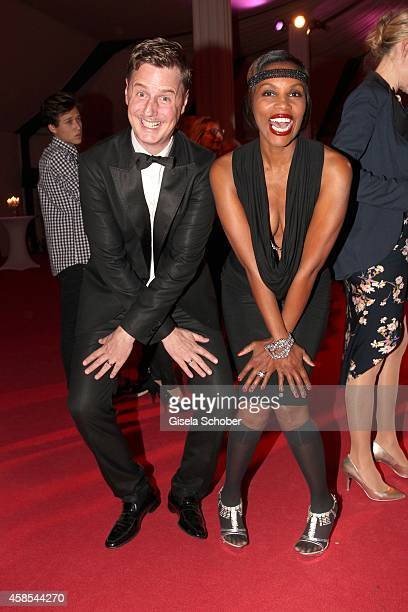 Florian Simbeck and his wife Stephanie Simbeck attend the Cotton Club Dinnershow Premiere at Ungerer Bad on November 6 2014 in Munich Germany