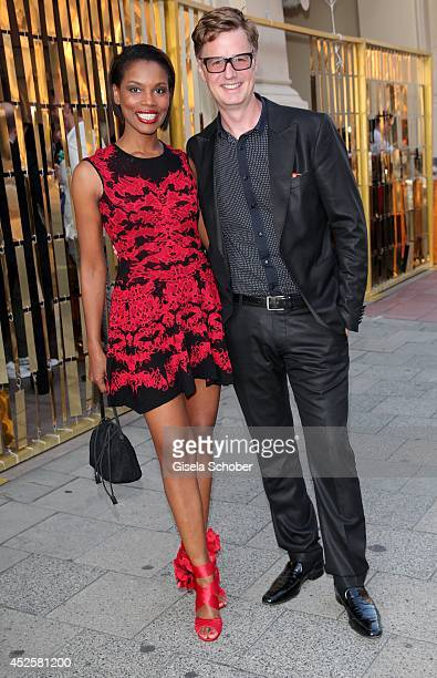 Florian Simbeck and his wife Stephanie Simbeck attend the Eclat Dore summer party at Hotel Vier Jahreszeiten Kempinski on July 23 2014 in Munich...