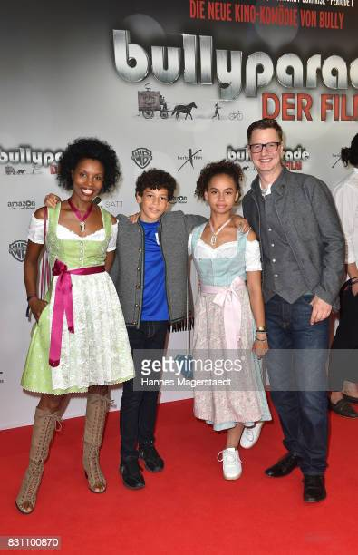 Florian Simbeck and his wife Stephanie with their children Emma and Steward during 'Bullyparade Der Film' premiere at Mathaeser Filmpalast on August...