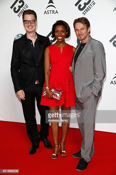 Florian Simbeck his wife Stephanie Simbeck and Thure Riefenstein attend the Shocking Shorts Award 2014 at Amerika Haus on July 3 2014 in Munich...