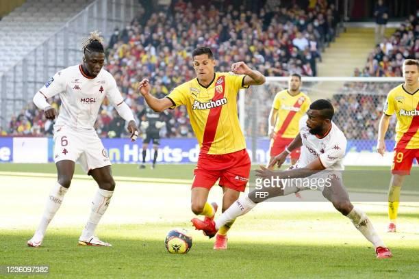 Florian SOTOCA - 06 Kevin NDORAM - 19 Habib MAIGA during the Ligue 1 Uber Eats match between Lens and Metz at Stade Bollaert-Delelis on October 24,...