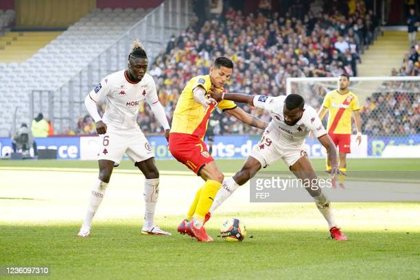 Florian SOTOCA - 06 Kevin NDORAM during the Ligue 1 Uber Eats match between Lens and Metz at Stade Bollaert-Delelis on October 24, 2021 in Lens,...