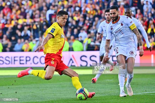 Florian SOTOCA of Rc Lens and Dylan BRONN of Metz during the Ligue 1 Uber Eats match between Lens and Metz at Stade Bollaert-Delelis on October 24,...