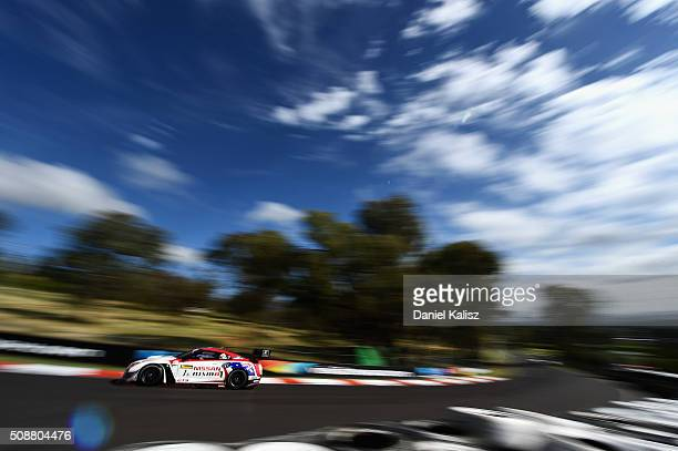 Florian Strauss drives the Nismo Athlete Global Team Nissan GTR Nismo GT3 during the Bathurst 12 Hour Race at Mount Panorama on February 7 2016 in...