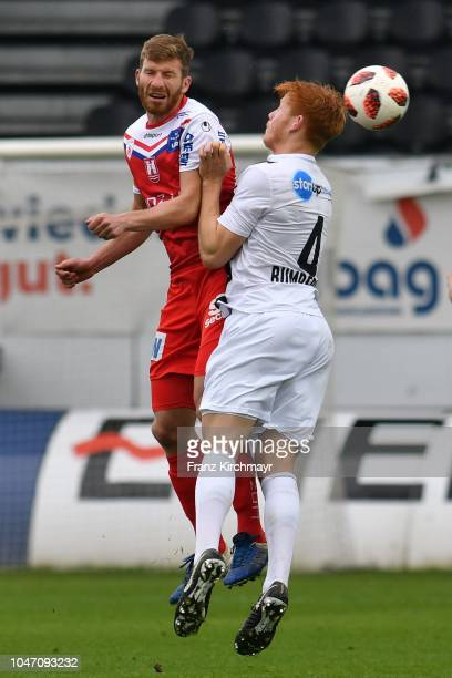 Florian Templ of FC Linz and David Bumberger of Juniors OOe during the 2 Liga match between FC Juniors OOe v FC Blau Weiss Linz at TGW Arena on...