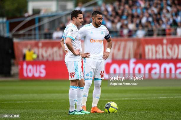 Florian Thauvin and Dimitri Payet of Marseille during the Ligue 1 match between Troyes Estac and Olympique de Marseille at Stade de l'Aube on April...