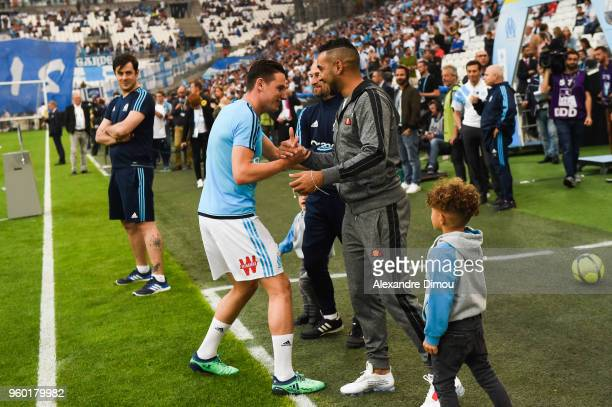 Florian Thauvin and Dimitri Payet of Marseille during the Ligue 1 match between Olympique Marseille and Amiens SC at Stade Velodrome on May 19 2018...