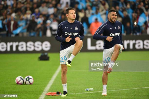 Florian Thauvin and Dimitri Payet of Marseille warm up before during the Ligue 1 match between Olympique Marseille and Paris Saint Germain on October...