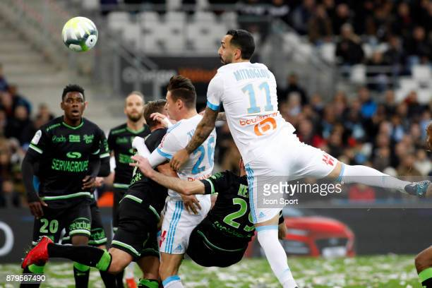 Florian Thauvin and Kostantinos Mitroglou of Marseille during the Ligue 1 match between Olympique Marseille and EA Guingamp at Stade Velodrome on...