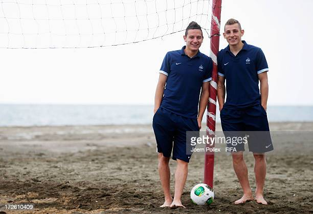 Florian Thauvin and Lucas Digne of France are pictured at Novotel Trabzon on July 4 2013 in Trabzon Turkey