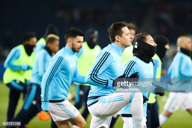 Florian Thauvin and Maxime Lopez of Marseille during the French Cup match between Paris Saint Germain and Marseille at Parc des Princes on February...