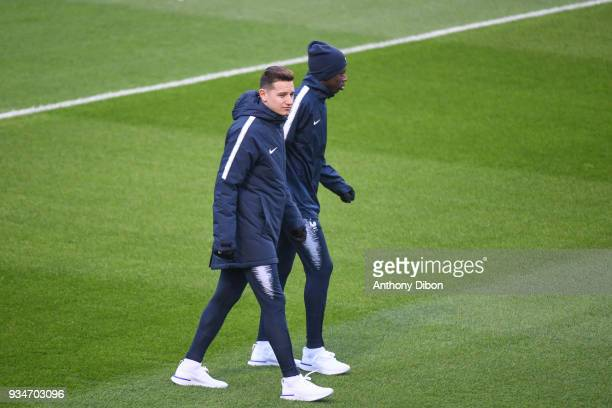 Florian Thauvin and Ousmane Dembele of France during a training session at Centre National du Football on March 19 2018 in Clairefontaine en Yvelines...