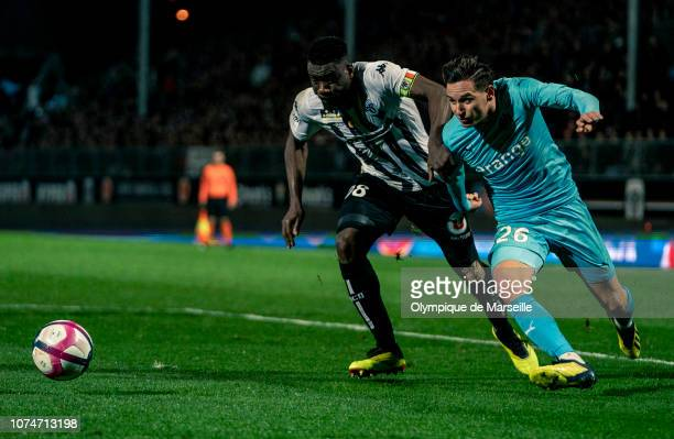 Florian Thauvin attacks during the Ligue 1 match between Angers SCO and Olympique de Marseille at Stade Raymond Kopa on December 22 2018 in Angers...
