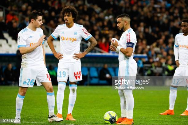 Florian Thauvin Luiz Gustavo and Dimitri Payet of Marseille during the Ligue 1 match between Olympique Marseille and Nantes at Stade Velodrome on...