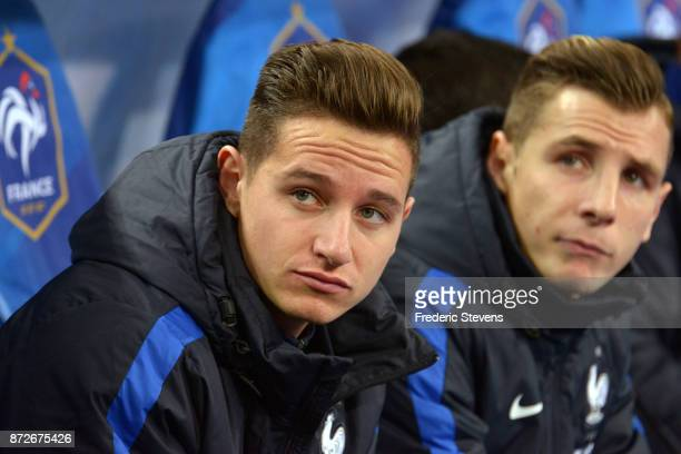 Florian Thauvin midfielder of France team reacts during warmup before the friendly match between France and Wales at Stade de France on November 10...