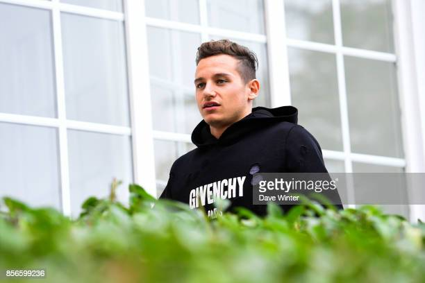 Florian Thauvin of France arrives at Centre National du Football on October 2 2017 in Clairefontaine en Yvelines France
