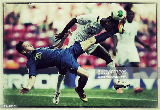 Florian Thauvin of France battles with Lawrence Lartey of Ghana during the FIFA U-20 World Cup Group A match between France and Ghana at the Ali Sami...