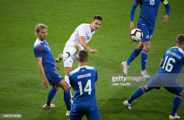 Florian Thauvin of France Birkir Bjarnason of Iceland during the international friendly match between France and Iceland at Stade de Roudourou on...