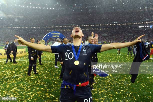 Florian Thauvin of France celebrates victory following the 2018 FIFA World Cup Final between France and Croatia at Luzhniki Stadium on July 15 2018...